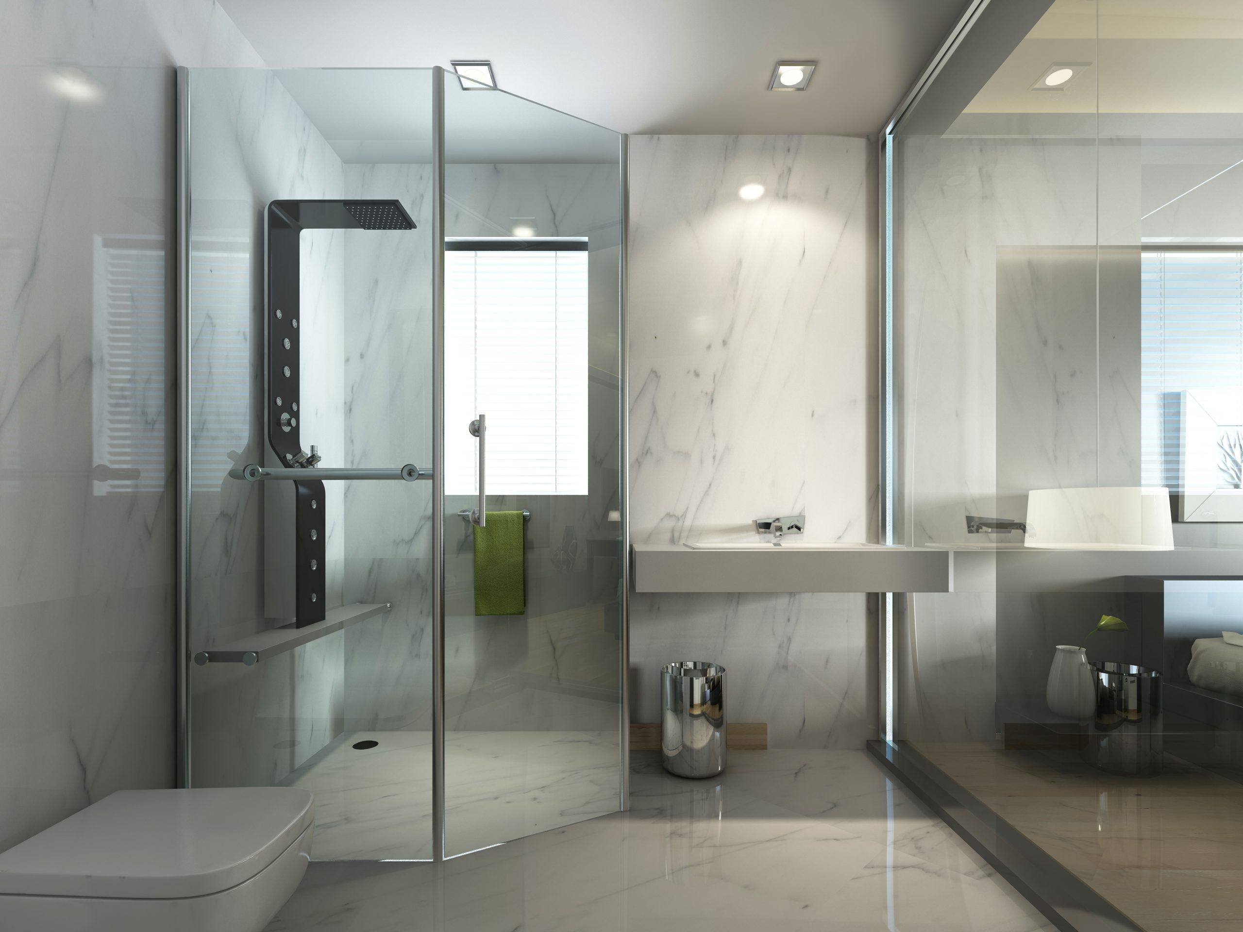 Transparent glass bathroom with shower and WC in contemporary style contemporary. 3D render.