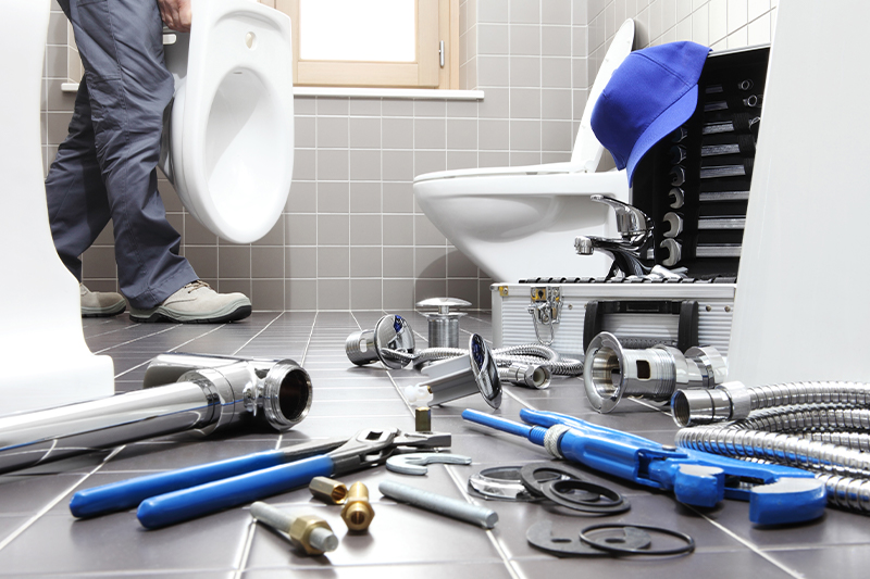 Professional working on a toilet